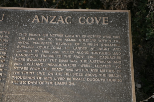 A PLAQUE AT ANZAC COVE